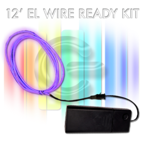 12-foot EL Wire Kit - HOT PINK