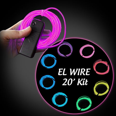 20-foot EL Wire Kit - HOT PINK
