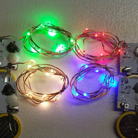 10 Colorful Fairy Lights, 20 Inch Wire - Red with Copper Wire