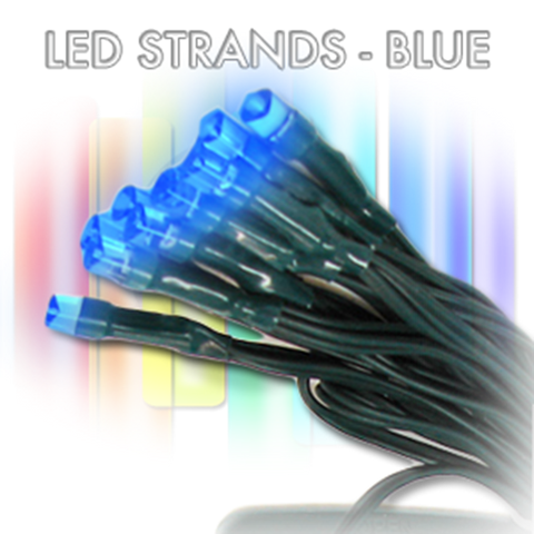 BLUE, 72 LED, 30', Green Wire, 6 Hr Timer - AA battery (waterproof)