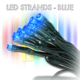 BLUE, 72 LED, 30', Green Wire, 6 Hr Timer - AA battery