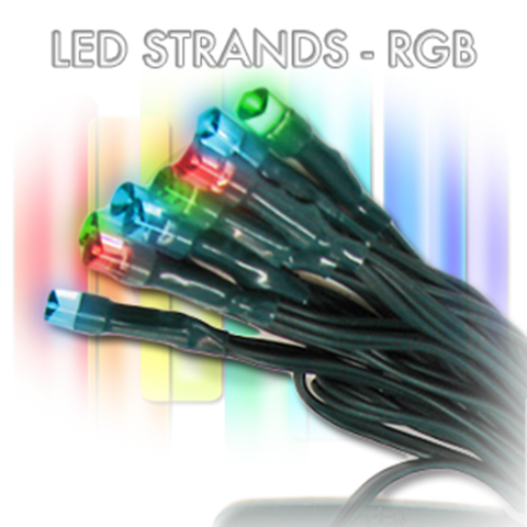 R/G/B, 72 LED, 30', Green Wire, 6 Hr Timer - AA battery (waterproof)