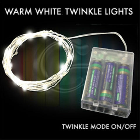 50 Warm White Twinkle Fairy Lights, 16 Ft Wire - Waterproof D Pack - Silver Wire