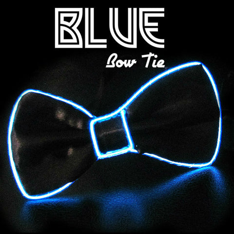 Electroluminescent EL Wire Bowtie - Blue