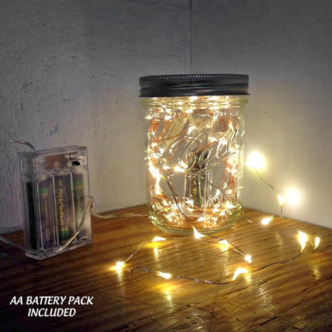 100 Warm White Fairy Lights, 17 Ft Wire - 110V Plug In - Silver Wire
