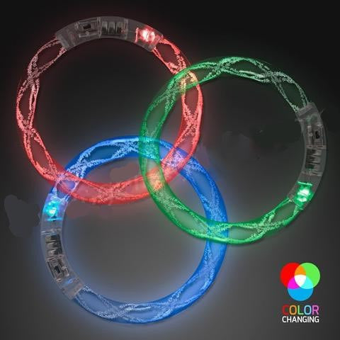LED Rainbow Spiral Bangle Bracelets