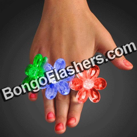 Acrylic Flower Rings LED Jewelry