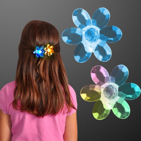 Acrylic Flower Color Change LED Hair Clips