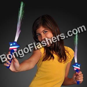 Fiber Optic Stars & Stripes LED Light Wands