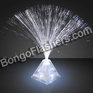 "15"" White LED Fiber Optic Pyramid Centerpiece"