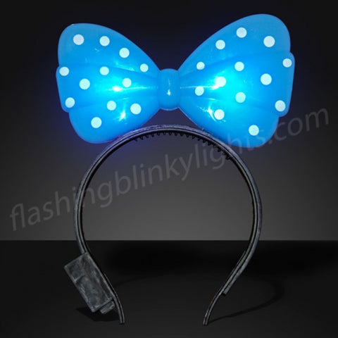 Blue Light Up Bow Headband