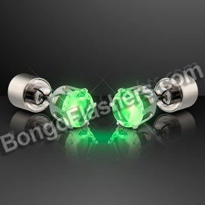 Light Up Green Faux Emerald Pierced Earrings