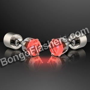 Light Up Faux Ruby Red Pierced Earrings