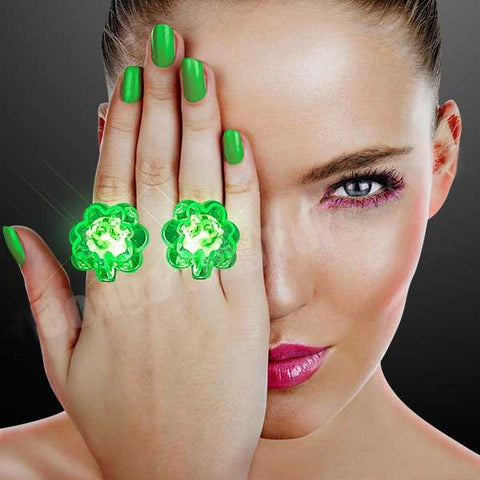 Blinky LED Shamrock Rings