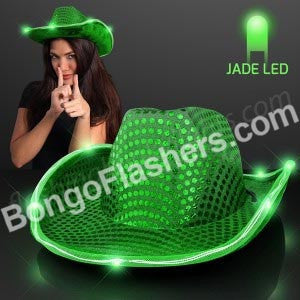 Green Sequin Cowboy Hat with Jade LED Brim