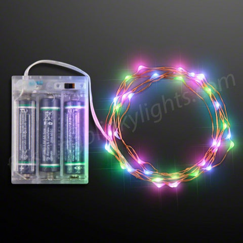 "76"" Blue, Green & Pink Steady LED String Lights, Battery Operated"