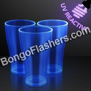 20 oz. Blue Glow Cups, UV Reactive for Glow Parties