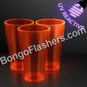 20 oz. Orange Neon Glow Party Cups, UV Reactive