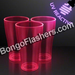 20 oz. Pink Glow Neon Cups, UV Reactive for Glow Party
