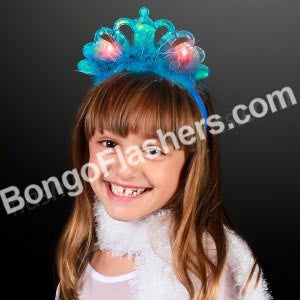Blinking LED Peacock Blue Crown Headbands