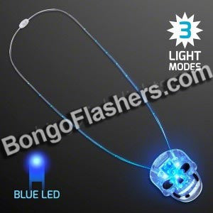 "Blue LED Skull Charm Necklace, ""Neon Look"""