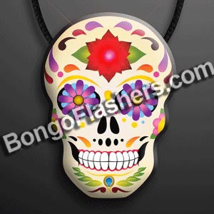 Day of the Dead Light Up Sugar Skull on Lanyard