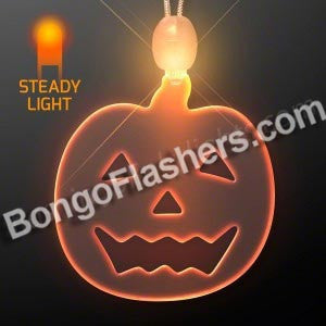Orange Glow Pumpkin LED Acrylic Necklace