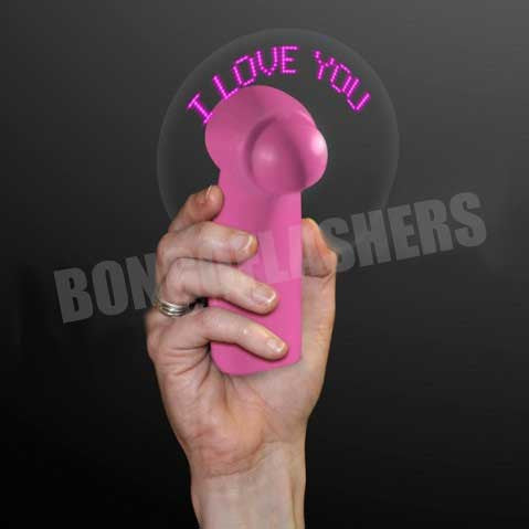 """I Love You"" Pink LED Message Fans, Valentine Gifts"