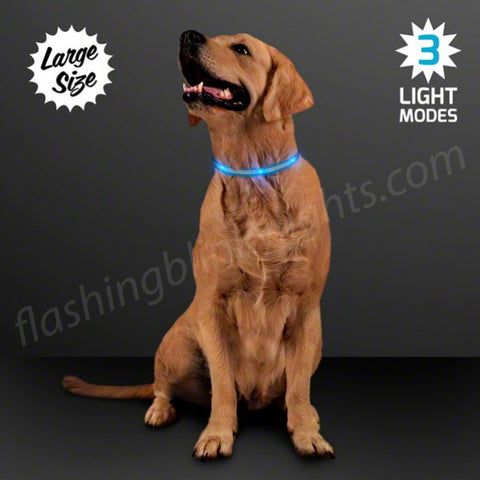 Blue LED Dog Collar, Adjustable - Size Large