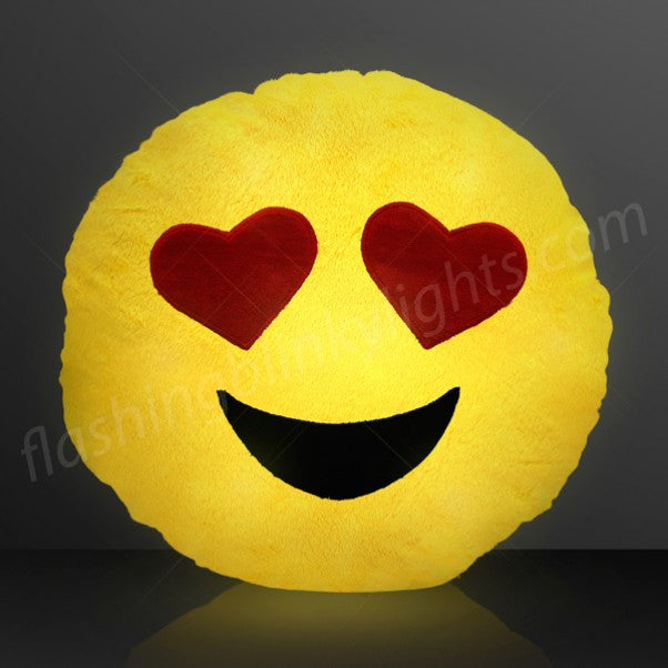 Light Up Emoji Pillow with Heart Eyes