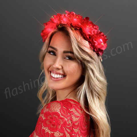 Rich Red LED Flower Crown Halo Headband