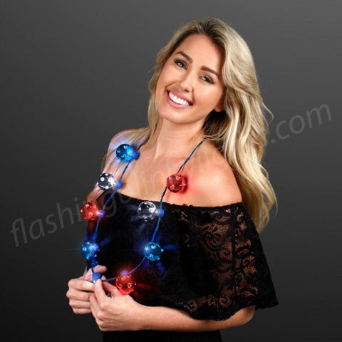 Disco Balls Party Necklace - Red/White/Blue Firework Lighting