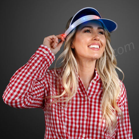 f44c572b1f2 Blue Retro Visor Hat with Red White   Blue LED Lights