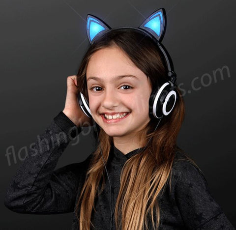 Blue Light Cat Ear Headphones, Black Frame