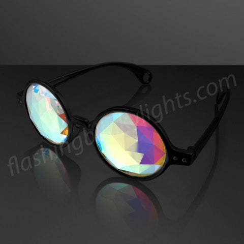"""Space Specs"" SUNBURST Lens Kaleidoscope Glasses, Black Frame"