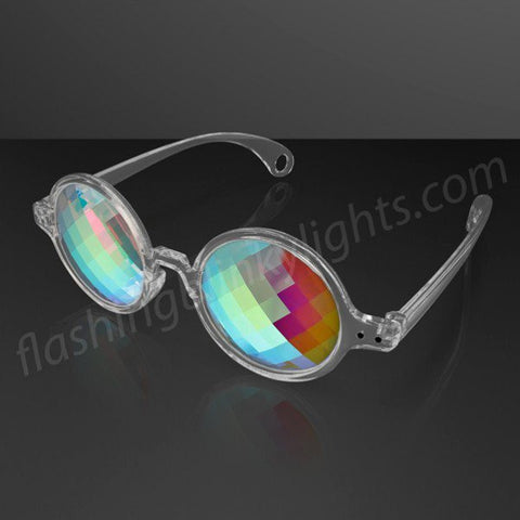 """Space Specs"" PIXEL Lens Kaleidoscope Glasses, Clear Frame"