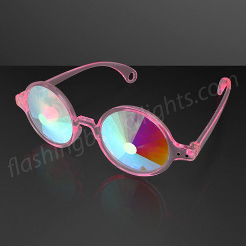 """Space Specs"" PORTAL Lens Kaleidoscope Glasses, Clear Pink Frame"