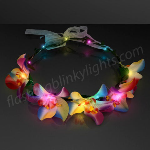 Tropical Orchid Flower Crown - Multicolor Blinky Lights