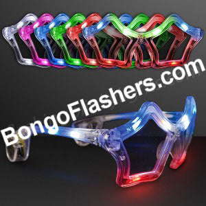 Assorted Color Flashing LED Star Shaped Glasses