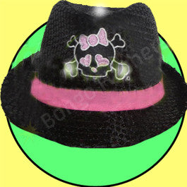 FLASHING SEQUINED FEDORA HAT - GIRL SKULL