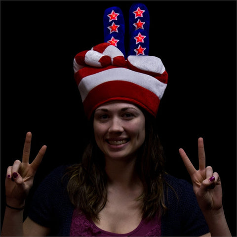 Flashing Patriotic Peace Hat