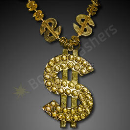 GOLD BLING DOLLAR SIGN NOVELTY NECKLACE (NON LIGHT UP)