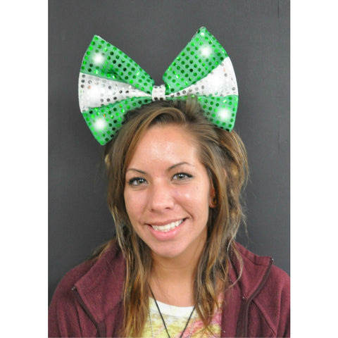 LIGHT UP SEQUIN BOW HEADBAND GREEN/WHITE (1 PIECE)