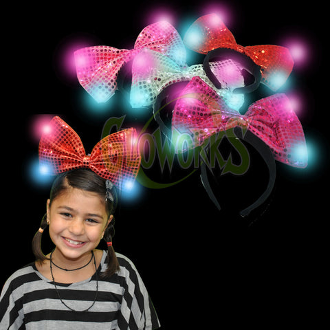 JUMBO FLASHING SEQUINED BOW HEADBAND - ASST. COLORS (1 PIECE)