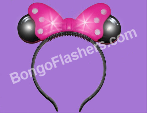 ASSORTED COLOR LED BOW HEADBANDS WITH EARS (1 PIECE)