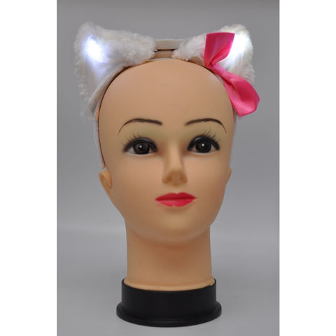Light Up White Cat Ears with Pink Bow (1 PIECE)