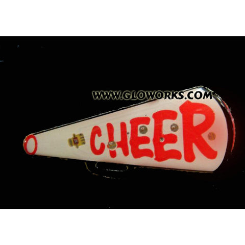 Cheerleader Megaphone Flashing Magnetic LED Pin (1 DOZEN)