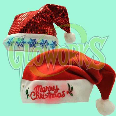 CHRISTMAS ASSORTED LED SANTA HATS (1 PIECE)
