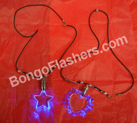 ACRYLIC LED NECKLACE ASSORTED SHAPES HEART/STAR (1 PIECE)