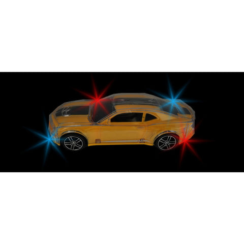 "9"" Moving Flashing Toy Car - Yellow Sports Car"